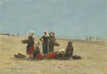 Konsttryck Women on the Beach at Berck, 1881