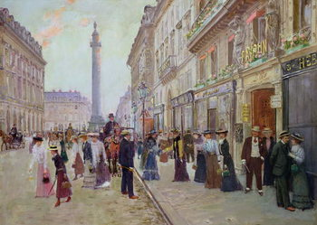Konsttryck  Workers leaving the Maison Paquin, in the rue de la Paix, c.1900
