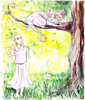 Alice and the Cheshire Cat - illustration to  Lewis Carroll 's 'Alice's Adventures in Wonderland' , 2005 Festmény reprodukció
