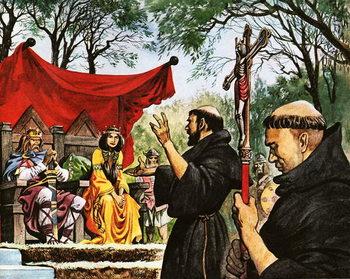 Augustine preaches to King Ethelbert Festmény reprodukció
