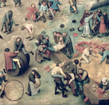Children's Games (Kinderspiele): detail of bottom right-hand corner depicting children playing with bricks, hoops and a barrel, 1560 (oil on panel) Festmény reprodukció