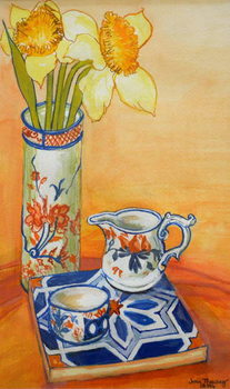 Chinese Vase with Daffodils, Pot and Jug,2014 Festmény reprodukció