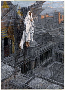 Christ Borne Up unto a Pinnacle of the Temple, illustration for 'The Life of Christ', c.1884-96 Festmény reprodukció