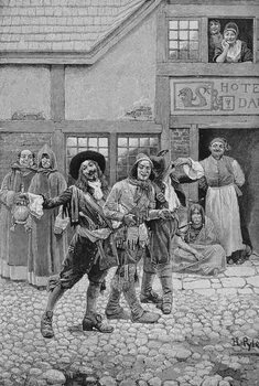 Coureurs de Bois, engraved by G.E. Johnson, illustration from 'Canadian Voyageurs on the Saguenay' by C.H. Farnham, pub. in Harper's Magazine, 1888 Festmény reprodukció