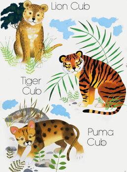 Cubs of Big Cats Festmény reprodukció