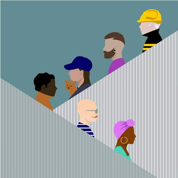 Escalator People Festmény reprodukció