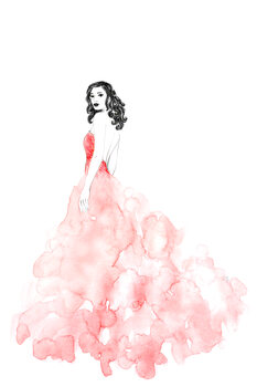 Ábra Fashion illustration long coral dress