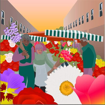 Flower Market at Columbia Road Festmény reprodukció
