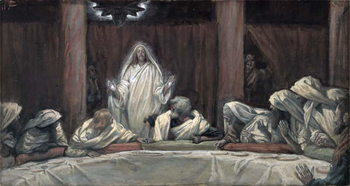 He Appeared to the Eleven as They Sat at Meat, illustration from 'The Life of Christ', c.1884-96 Festmény reprodukció