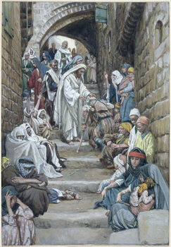 In the Villages the Sick were Brought Unto Him, illustration for 'The Life of Christ', c.1886-94 Festmény reprodukció