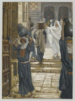 Jesus Forbids the Carrying of Loads in the Forecourt of the Temple, illustration from 'The Life of Our Lord Jesus Christ', 1886-94 Festmény reprodukció