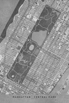Ábra Map of Manhattan Central Park in gray vintage style