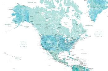 Ábra Map of North America in aquamarine watercolor