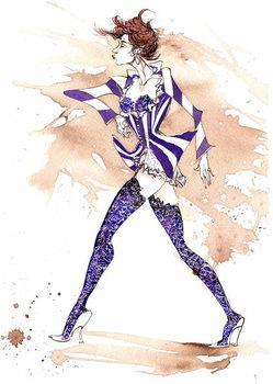 Model in a stripy costume Festmény reprodukció