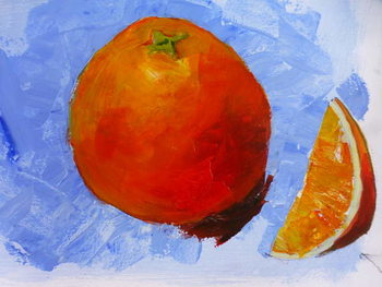 Orange and slice  2019 acrylic on paper Festmény reprodukció