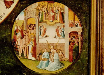 Paradise, detail from the Table of the Seven Deadly Sins and the Four Last Things, c.1480 Festmény reprodukció