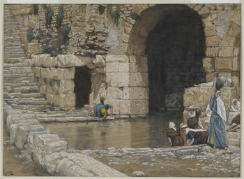 The Blind Man Washes in the Pool of Siloam, illustration from 'The Life of Our Lord Jesus Christ', 1886-96 Festmény reprodukció