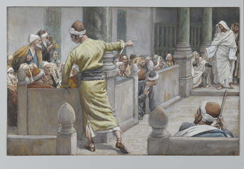 The Healed Blind Man Tells His Story to the Jews, illustration from 'The Life of Our Lord Jesus Christ', 1886-96 Festmény reprodukció