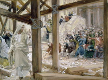 The Jews took up Stones to Cast at Him, illustration for 'The Life of Christ' c.1886-96 Festmény reprodukció