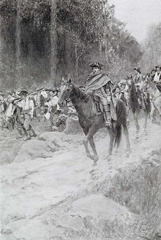 Washington's Retreat from Great Meadows, illustration from 'Colonel Washington' by Woodrow Wilson, pub. in Harper's Magazine, 1896 Festmény reprodukció