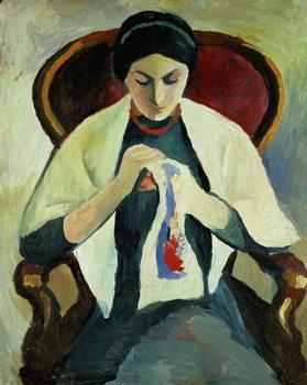 Woman Sewing Festmény reprodukció