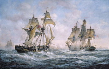 Action Between U.S. Sloop-of-War Wasp and H.M. Brig-of-War Frolic, 1812 Festmény reprodukció