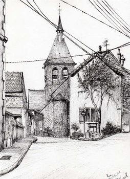 Church in Laignes France, 2007, Festmény reprodukció