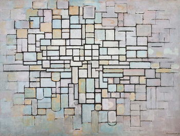 Composition No 11 in grey, pink and blue, 1913, by Piet Mondrian , oil on canvas. Netherlands, 20th century. Festmény reprodukció