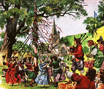 England becomes merry again after the Restoration Festmény reprodukció
