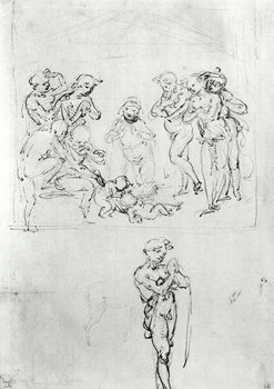 Figural Studies for the Adoration of the Magi, c.1481 Festmény reprodukció