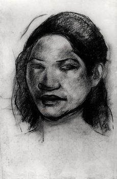 Head of a Tahitian (charcoal on paper) Festmény reprodukció