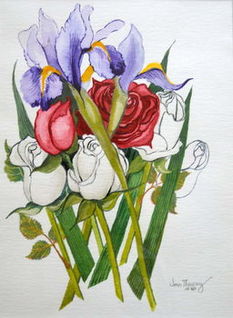 Irises and Roses,2007 Festmény reprodukció
