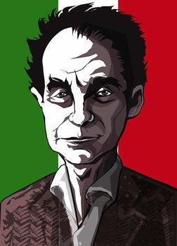 Italo Calvino, Italian author , colour 'graphic' caricature, 2004 by Neale Osborne Festmény reprodukció
