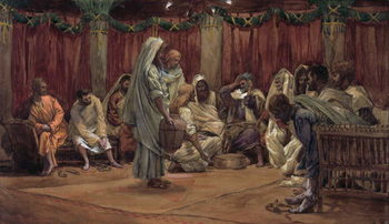Jesus Washing the Disciples' Feet, illustration for 'The Life of Christ', c.1886-94 Festmény reprodukció