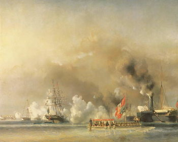 King Louis-Philippe (1830-48) Escorting Queen Victoria (1819-1901) Aboard the Royal Yacht 'Victoria and Albert' at Treport, 7th September 1843, 1844 Festmény reprodukció