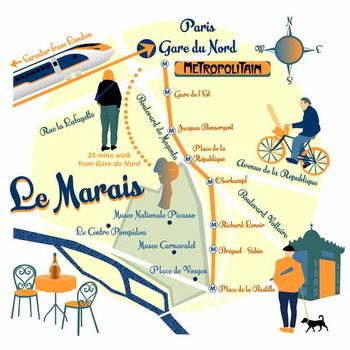 Map of Le Marais, Paris Festmény reprodukció