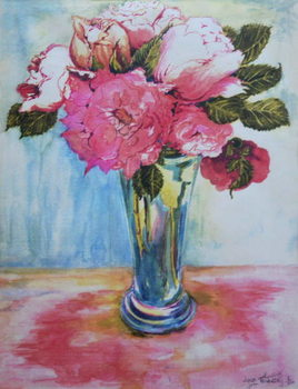 Pink Roses in a Blue Glass, 2000, Festmény reprodukció