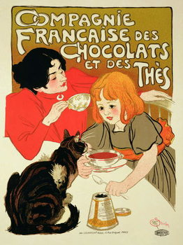 Poster Advertising the French Company of Chocolate and Tea Festmény reprodukció