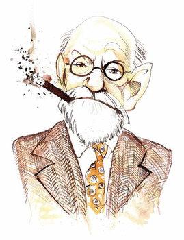 Sigmund Freud Austrian neurologist and psychotherapist of Czech birth ; caricature Festmény reprodukció