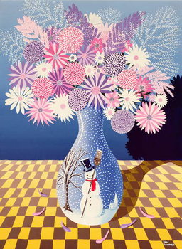 Snowman Vase Festmény reprodukció