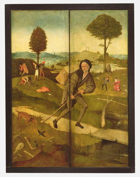 The Haywain, with panels closed showing Everyman walking the Path of Life Festmény reprodukció
