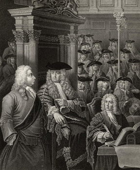 The House of Commons in Sir Robert Walpole's Administration, engraved by R. Page, from 'The Works of William Hogarth', published 1833 (litho) Festmény reprodukció