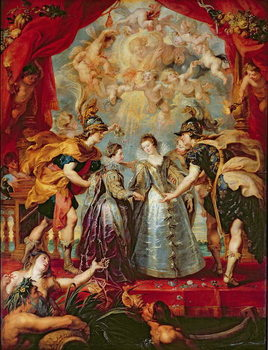 The Medici Cycle: Exchange of the Two Princesses of France and Spain, 9th November 1615, 1621-25 Festmény reprodukció