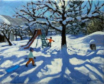 The slide in winter, Bourg, St Moritz Festmény reprodukció