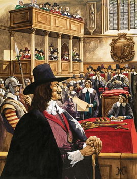 The trial of King Charles the First in Westminster Hall Festmény reprodukció