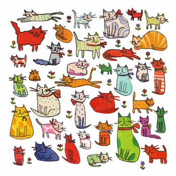 Thirty eight cats, 2018,mono print, collage Festmény reprodukció