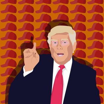 Trump and the baseball cap Festmény reprodukció
