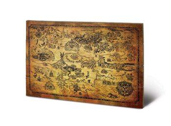 The Legend Of Zelda - Hyrule Map Fából készült kép