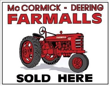 FARMALLS SOLD HERE - tractor Metalen Wandplaat
