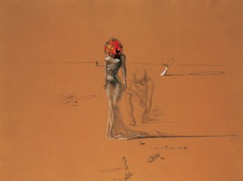 Female Figure with Head of Flowers, 1937 Festmény reprodukció